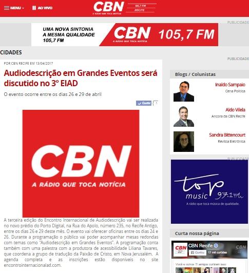 2017.04.13_CBN Recife_Audiodescrição em Grandes Eventos será discutido no 3º EIAD
