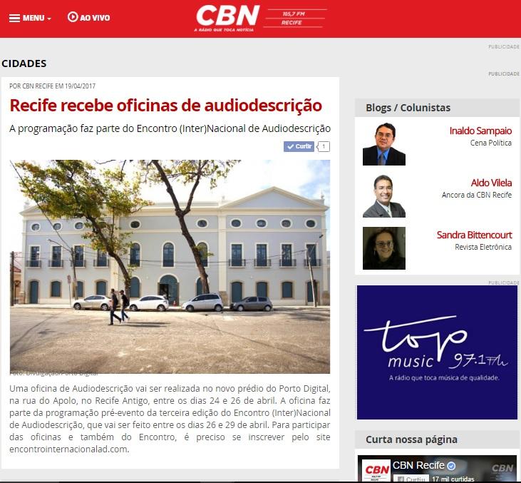 2017.04.19_CBN Recife_Recife recebe oficinas de audiodescrição