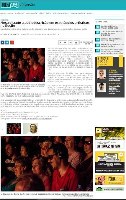 2017.04.19_FolhaPE_Mesa discute a audiodescrição em espetáculos artísticos no Recife